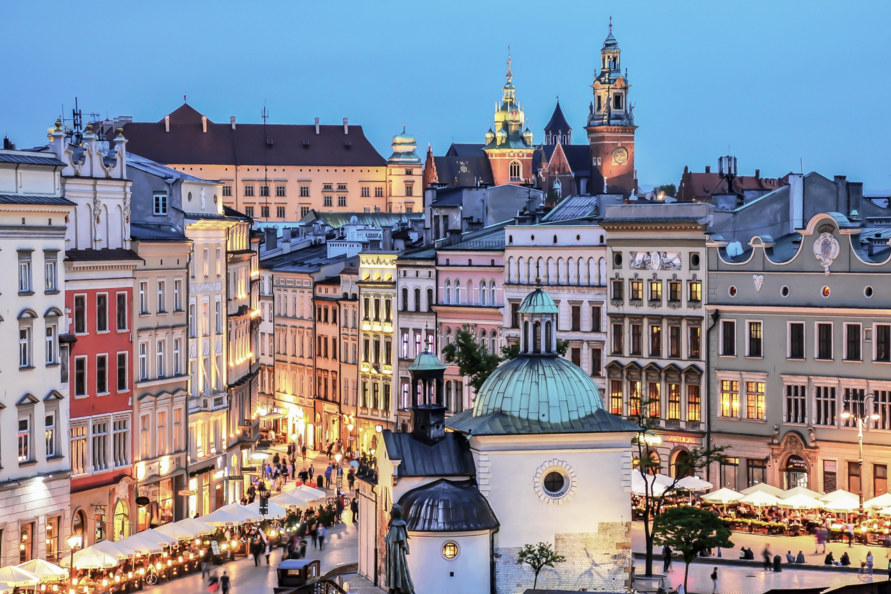 Krakow Main Market Square Old Town view for Wawel Castle and St Albert Church